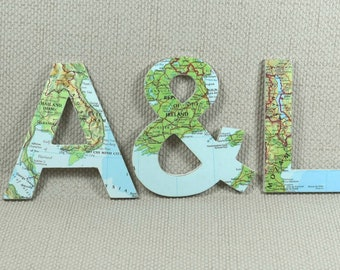 Custom World Map Wooden Wall Letters - Choose your Locations!