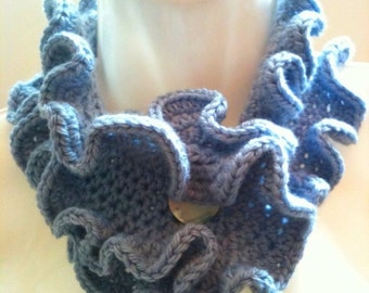 Crochet Pattern: Ruffled Buttoned Scarflette (0024) - Permission to Sell Finished Products