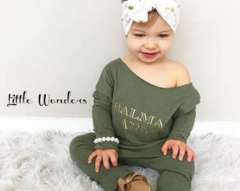 Baby Girl Balman Paris Army Green Romper