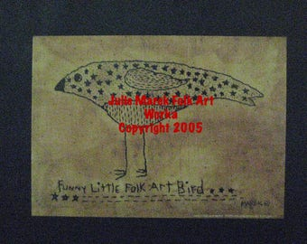 "Primitive Folk Art FRAMED ""Funny Little Folk Art Bird"" - Copyright Lithograph Print of Original Primitive Folk Art BirdStitchery"