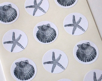 Shell and Starfish Stickers One Inch Round Seals