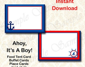 Ahoy Its A Boy Baby Shower Party Decorations - Nautical Tent Cards Buffet Food Cards Instant Download Printable Labels, Mason Jar Labels DIY