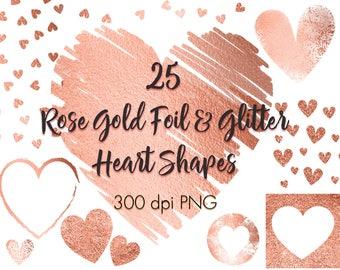 Rose gold hearts clip art, Rose gold design elements clipart, Rose gold foil, Rose gold glitter, Heart overlays, Wedding, Valentine's day