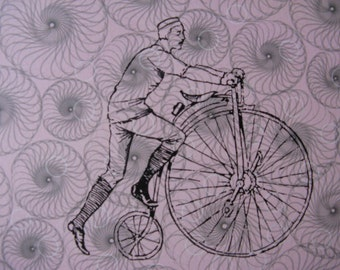 Old-Timey Bike screen print / Ready to Hang on Canvas / Bicycle Screen Print / Vintage Bicycle Print / Home Decor / Dorm Decor