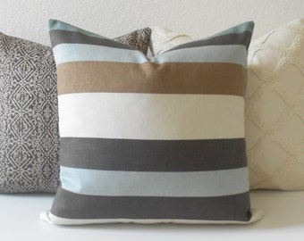 Brown, teal and aqua stripe decorative pillow cover