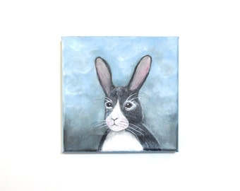 SALE Rabbit - Original painting on Canvas - Woodland Nursery, Animal Painting, Rabbit, Animal Wall Art, Children room Wall Decor, Kids Art
