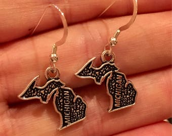 Michigan Dangle Earrings with Sterling Silver Earwires, State of Michigan Earrings, Mitten Earrings, Metal Michigan Earrings
