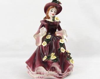 "Lefton Flower Dress Lady -  6"" tall - 1956 #10337 - burgundy dress rhinestone flowers"