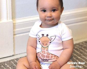 Cute Baby Clothes Giraffe Onesie - Girl Baby Shower Gift