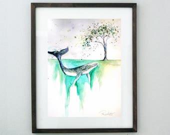 Whale Art, Original Art, Original Painting, Blue Whale Art, Watercolor Whale Painting, Whale Nursery, Humpback Whale Painting, Beach Decor
