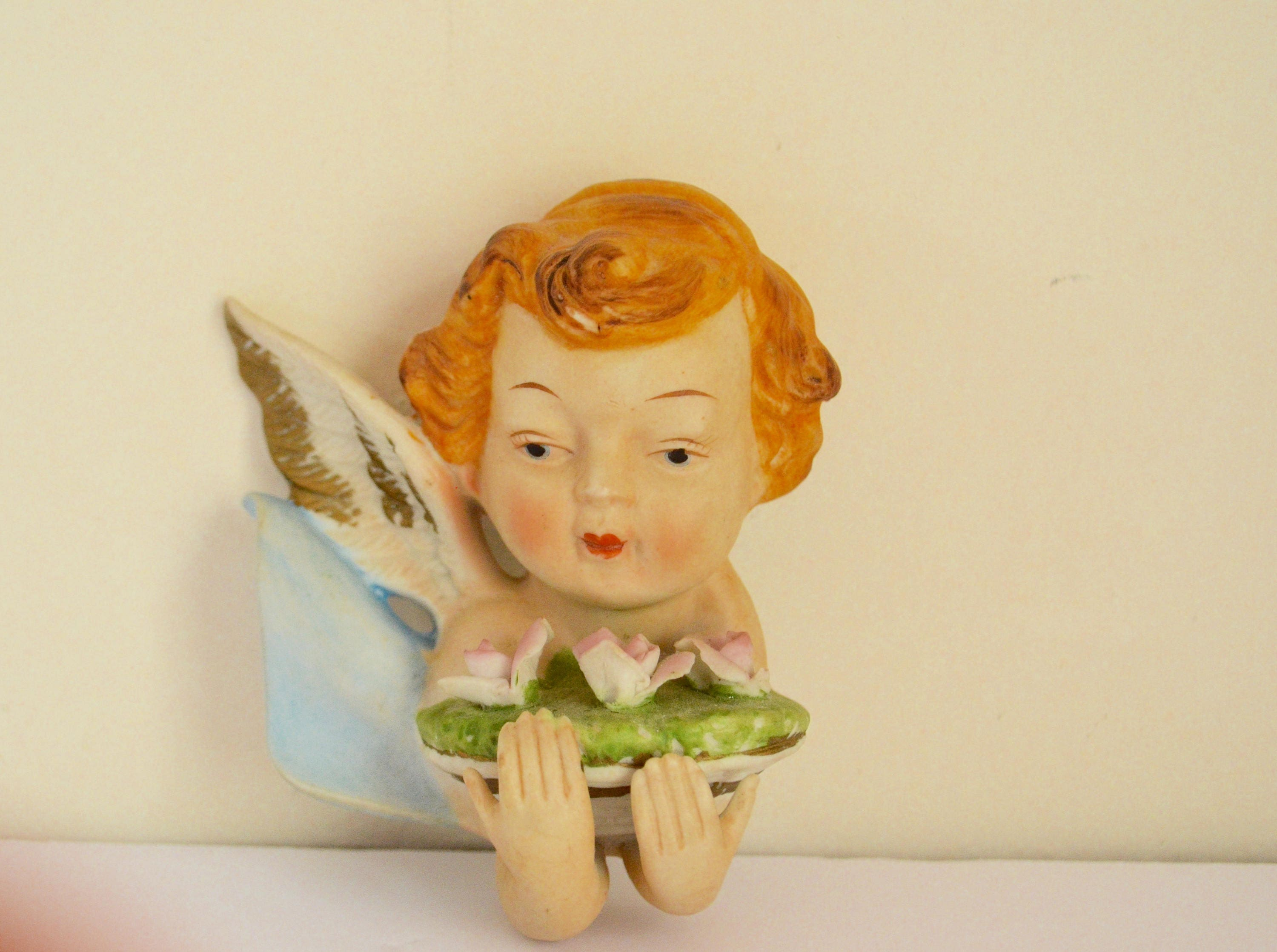 Shabby Chic Porcelain Cherubs Angels Wall Art / Childs