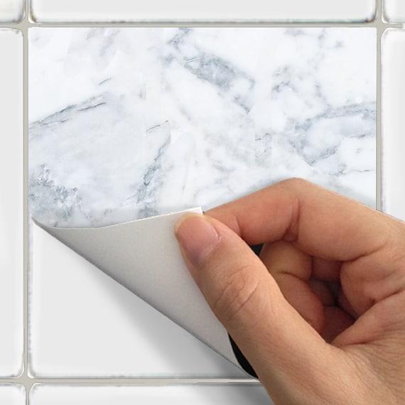 Kitchen bathroom Tile Decals Vinyl Sticker : White Marble