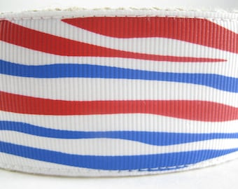 Red White and Blue Tiger Stripes extra large hemp dog collar