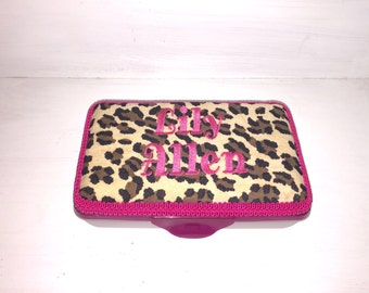 Personalized Pencil Box  In Leopard/Cheetah Print With Hot Pink Or Brown And Cream Giraffe Print With Hot Pink. Name Embroidered In Hot Pink