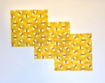 """Beeswax Wraps set of 3 small 7"""" square reusable wraps/covers"""
