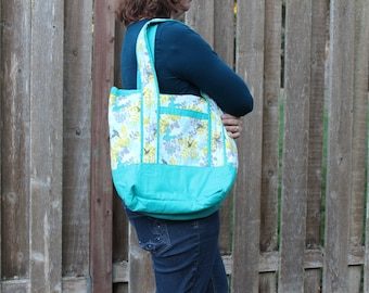Turquoise Bird and/or Yellow Medallion Tote
