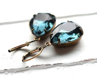 Blue Glass Earrings, Antique Brass Leverback, Estate Style Vintage Montana Blue Glass Teardrop, Navy, Denim Czech Glass