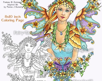 Sunflower Fairy Printable Coloring book Sheets and Pages by Norma J Burnell Fairies to color Coloring for Adults and Digital Coloring files