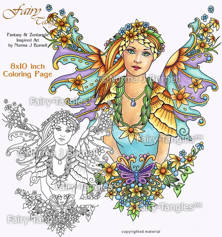 Sunflower Fairy Printable Coloring book Sheets and Pages by