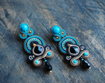 Soutache dangle earrings, Black, beige and turquoise earrings, Embroidered earrings, Beaded earrings, Soutache jewelry, FREE SHIPPING