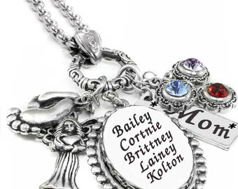 Mothers Necklace - Birthstone Necklace - Family Necklace - Childs Names - Personalized - Birthday Necklace - Moms Birthday