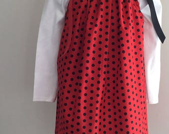 Red & Black Polka Dots Pillowcase Dress Size 2T
