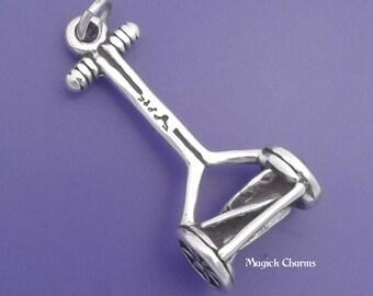 LAWN MOWER Charm .925 Sterling Silver Push Mower, Gardening Pendant - lp3066