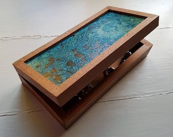 Jewellery / Cufflink box -Reclaimed Mahogany with Unique Oxidised Copper Lid