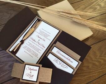 Rustic Wedding Invitation with wheat - earthy burlap wedding invitations - fall harvest brown invitation - pocket folder invitations