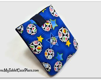 Tablet Case, iPad Cover, Soccer Ball, Sports  iPad Mini Case, Kindle Fire Cover, Tablet Sleeve, Cozy, Handmade, FOAM Padding, Gift, Blue