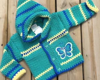 Crochet Sweater, Size 12-18 months, Crochet Baby Sweater, Butterfly Sweater, Boy Sweater, Girl Sweater, Designed by Bahde
