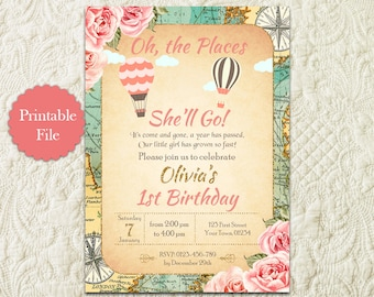 Oh The Places You'll Go Girl First 1st Birthday Invitation, Hot Air Balloon Girl 1st First Birthday Invitation, Around The World Vintage Map