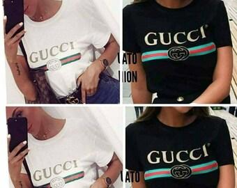 New gucci t-shirt woman's lady black  and white size S M L XL XXL shirt women's woman lady's tops tees cotton