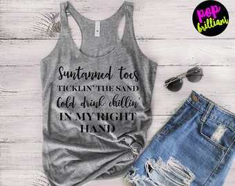 Suntanned Toes tank | country girl tank | Country | country concert tank | rodeo tank | country music festival | Thunder| drinking F167