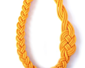 Knot Necklace,Sailor,Nautical Style,Yellow,Knotted,Braid,Cord Necklace