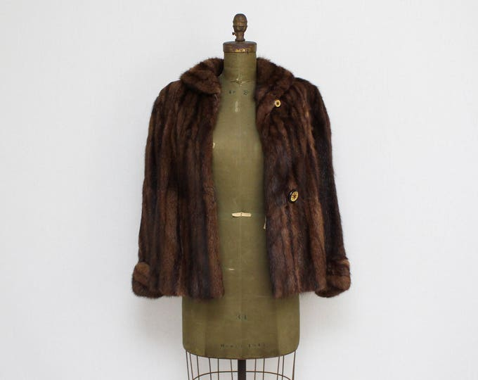 Vintage 1960s Dark Brown Muskrat Fur Coat