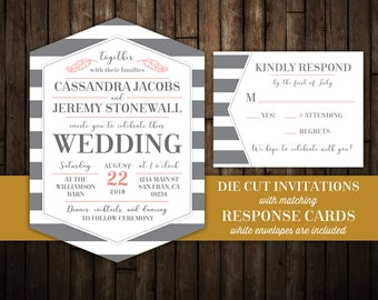 Elegant wedding invitations with RSVP, Hexagon shaped Die Cut wedding invites, printed wedding invitations package, striped wedding, feather