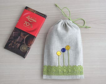 Easter treat bag candy bag for kids Drawstring pouch cloth gift bag with button flowers 5 x 8 inch