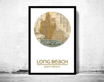 LONG BEACH CA - city poster - city map poster print
