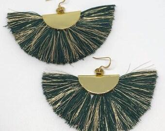 forest green fan tassel earrings