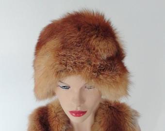 Fox Fur Vintage Hat // Size 56