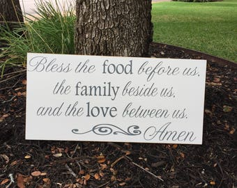 Bless The Food Before Us Wood Sign ~Kitchen Sign ~Dining Room Decor ~Kitchen Wall Art ~Kitchen Decor ~Bless The Food Before Us Sign
