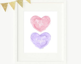 Pink and Purple Nursery Art, Gift for Sisters, Twin Girls Nursery Art, Twins Gift, Twins Nursery Art, Twin Sisters, Sisters Wall Decor
