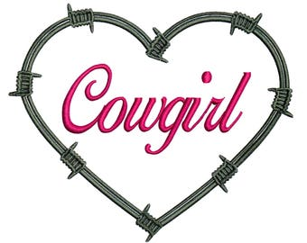 Embroidery Designs Barbed Wire Heart Cowgirl Heart Cowgirl
