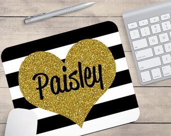Black Gold White Mouse Pad, Glitz Mouse Pad, Personalized Mouse Pad, Name On Mouse Pad, Faux Glitter Mouse Pad, Gold Glitter Mousepad (0034)