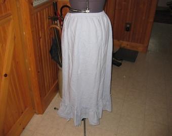 vtg peasant chambray washed denim peasant rufled hem maxi skirt lg 14/16 western festival hippy skirt free ship