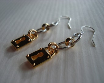 Silver and Gold Locket Earrings