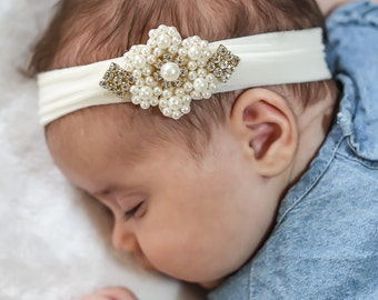Baby Headband, Baby Pearl Flower Headband, Newborn Ivory Head band,  Baby Pearl Headband, Flower Girl Headband, Baptism Headband, 1419
