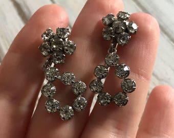 Vintage classic rhinestone hoop screw back earrings crystal 50s rhinestone prom jewelry bridal earrings