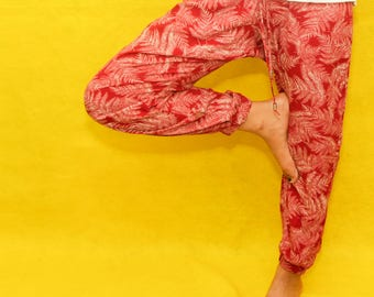 Tropical Red Silky Pants Small